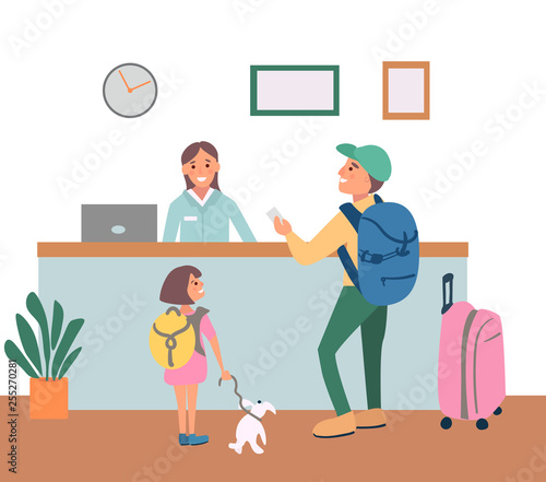Check In Hotel Reception Desk Modern Illustration With Cartoon Family Tourists Smiling Woman Receptionist Meets Guests And Gives Keys Vector Character In Flat Style Buy This Stock Vector And Explore Similar Vectors