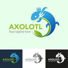 Axolotl Or Mexican Salamander Vector, As A Symbol Or Logo To Save The Environment.