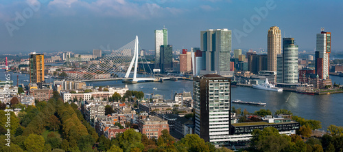 Panorama cityscape of Rotterdam, The Netherlands, with the city park in the foreground and financial district and city centre including the Erasmus bridge in the background among the wider port area