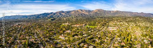 Aerial shot of Santa Barbara California USA, CIty, Streets, Houses, Hills, Mountains, Rocks, Motels