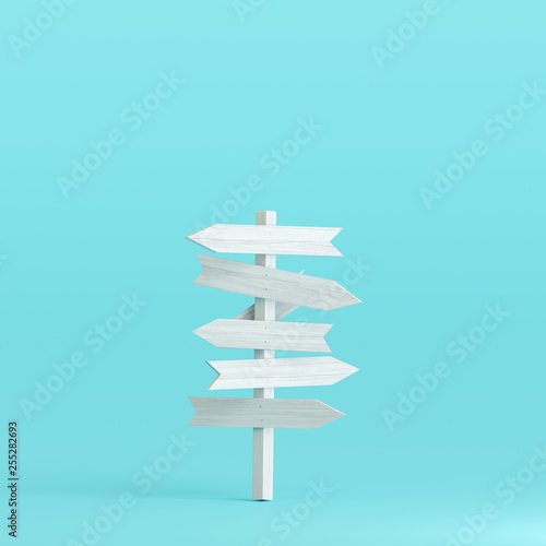 Signpost on pastel blue background. 3d rendering Wallpaper Mural