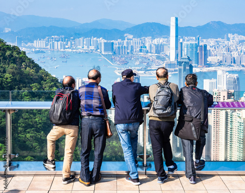 Photo  香港 ピーク・タワーの観光客