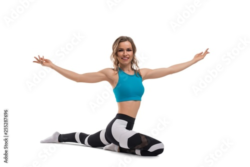 Pretty woman doing fitness isolated shot