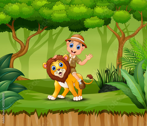 Cartoon Zookeeper boy and a lion in jungle
