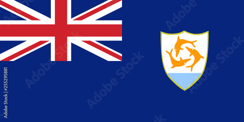 Flag Anguilla in official rate and colors, vector Wallpaper Mural