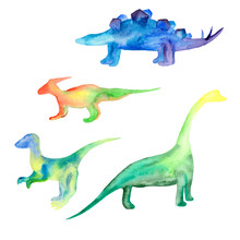 Watercolor Dinosaurs Green Yellow Blue On A White Background