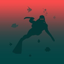 Silhouette Of Zombie Diver With Knife. Underwater World Background. . Marine Life And Fauna.