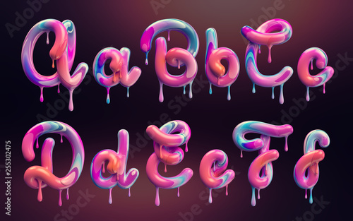 Fotografía  Cream alphabet, set of 3d letters with melted colorful shape.