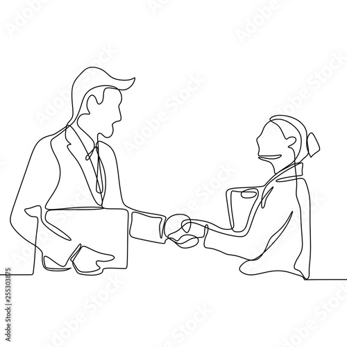 Fotografie, Obraz  continuous line drawing of business persons shaking hands