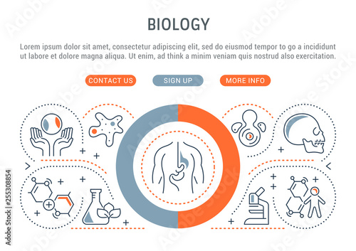 Fotografía  Vector Banner of the Biology.