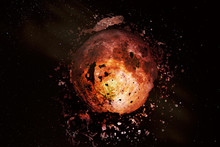 Explosion Of The Moon In Space. Fragments Of The Planet Scatter Around. Apocalypse. Elements Of This Image Furnished By NASA.