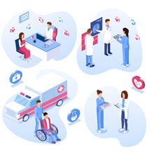 Medical Staff Set. Male And Female Doctors, Nurses And Patient Concepts. Ambulance Care, Wheelchair, Consultation And Meeting. Vector Illustration.