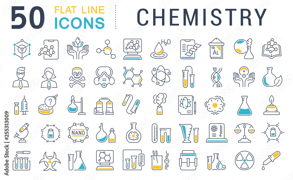Fototapety, obrazy: Set Vector Line Icons of Chemistry.