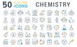 Leinwanddruck Bild - Set Vector Line Icons of Chemistry.