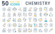 Leinwandbild Motiv Set Vector Line Icons of Chemistry.