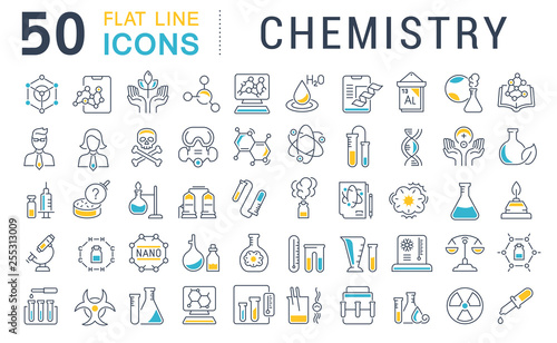 Fotografia  Set Vector Line Icons of Chemistry.