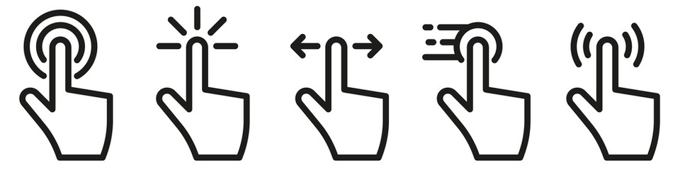 Hand click touch icons set. Vector illustration.