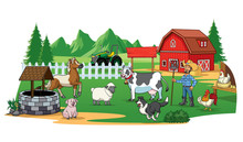 Farmer And Animals On The Farm Yard