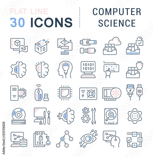 Fotografía  Set Vector Line Icons of Computer Science.