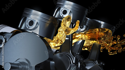 Fotografie, Obraz 3d illustration of car engine with lubricant oil on repairing