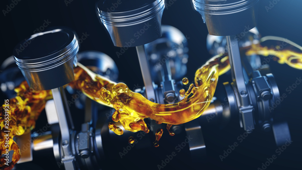 Fototapeta 3d illustration of car engine with lubricant oil on repairing. Concept of lubricate motor oil