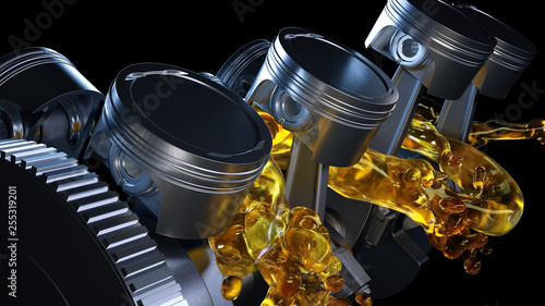 3d illustration of car engine with lubricant oil on repairing Fototapete