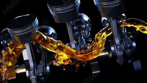 Photo 3d illustration of car engine with lubricant oil on repairing