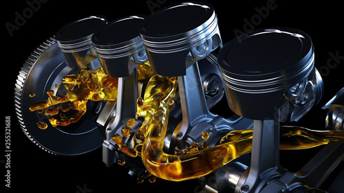 Fotografía 3d illustration of car engine with lubricant oil on repairing