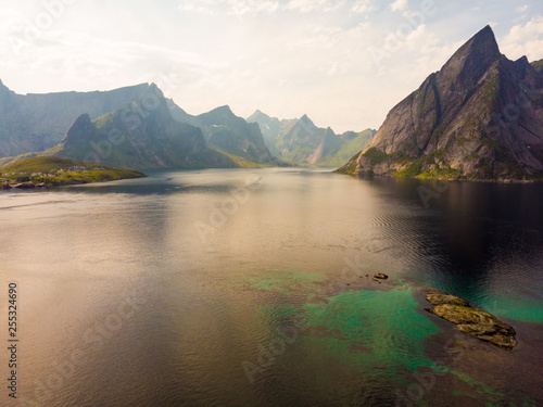 Aluminium Prints New Zealand Fjord and mountains landscape. Lofoten islands Norway
