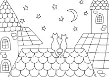 Hand Drawn Coloring Page With A Cats On The Roof