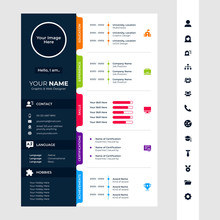 Cv / Resume Design Template With Glyph/solid Icons
