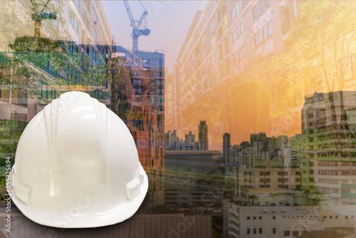 Deurstickers Australië Double exposure Construction engineer, architectural technology