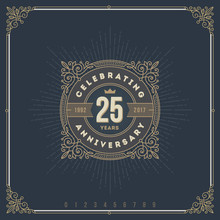 Vector Illustration - Vintage Anniversary Logo Emblem With Flourishes Calligraphic Ornamental Elements.
