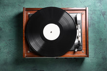 Record Player With Vinyl Disc ...