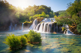Panoramic landscape of Krka Waterfalls on the Krka river in Krka national park in Croatia.