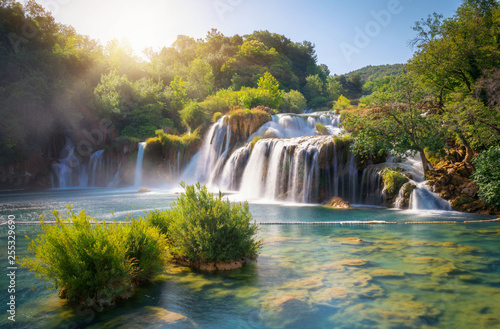Photo Stands Waterfalls Panoramic landscape of Krka Waterfalls on the Krka river in Krka national park in Croatia.