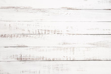 Vintage White Wood Background - Old Weathered Wooden Plank Painted In White Color.