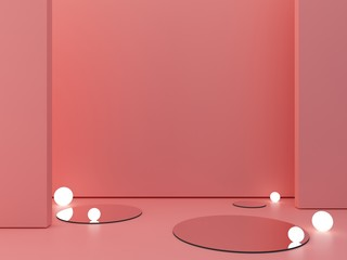 3d render, abstract cosmetic background to show a product. Empty scene with cylinder mirror and spherical lights  in the floor.  Coral minimal wall. Fashion showcase, display case, shopfront.
