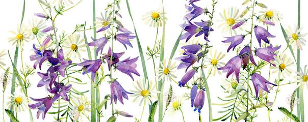 Panel Szklany Łąka Background from watercolor wildflowers