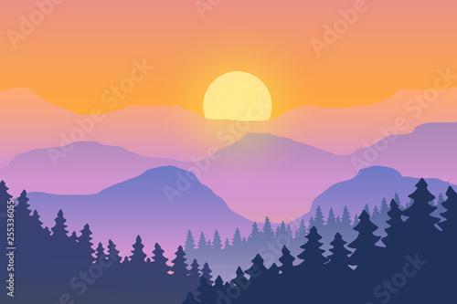 Aluminium Prints Dark grey PrinIllustration of the landscape. Sunset in the mountains.
