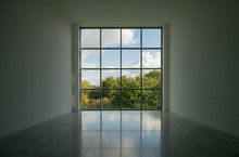Empty Room With Empty Walls View Through A Window Into The Future, New Opportunities And New Perspectives