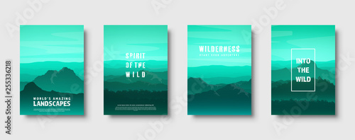 Wall Murals Green coral Mountains and forest. Wild nature landscape. Travel and adventure.Panorama. Into the woods. Horizon line.Trees,fog. Vector illustration.
