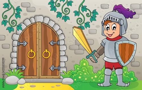 Foto op Canvas Voor kinderen Knight by old door theme image 1