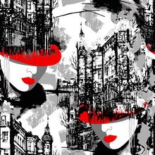 Lady In Red. Elegance Paris. Seamless Pattern Of The Urban Landscape With A Woman In A Red Hat.