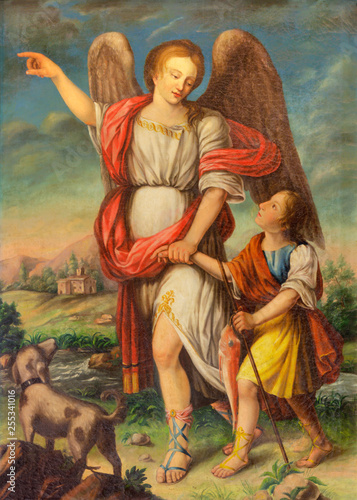 Canvas Print PALMA DE MALLORCA, SPAIN - JANUARY 28, 2019: The painting of Archangel Raphael and Tobias in church Iglesia de Santa Eulalia by unknown artist