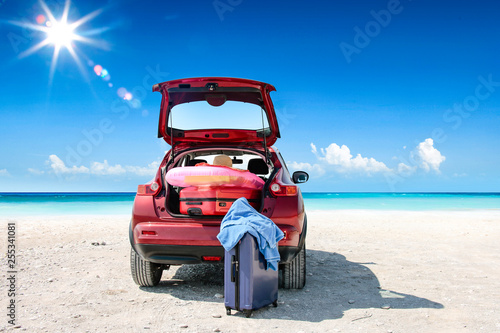 Summer car on beach and sea landscape