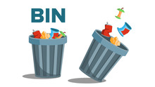 Bin Garbage Vector. Full Of Trash. Inverted. Isolated Flat Illustration