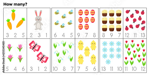 Cards for teaching preschool children. Count and write how many items. Vector Easter characters. Educational game. Cute Easter rabbit, chick, eggs, flowers and insects.