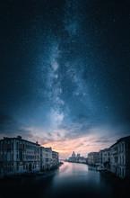 Artistic View Of Grand Canal And Basilica Di Santa Maria Della Salute In Venice, Italy Under Majestic Milky Way