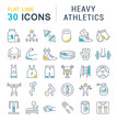 Leinwanddruck Bild - Set Vector Line Icons of Heavy Athletics.